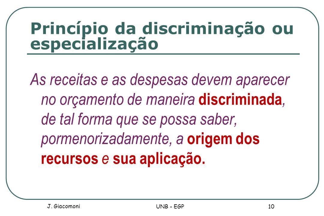 Princípio da discriminação ou especialização