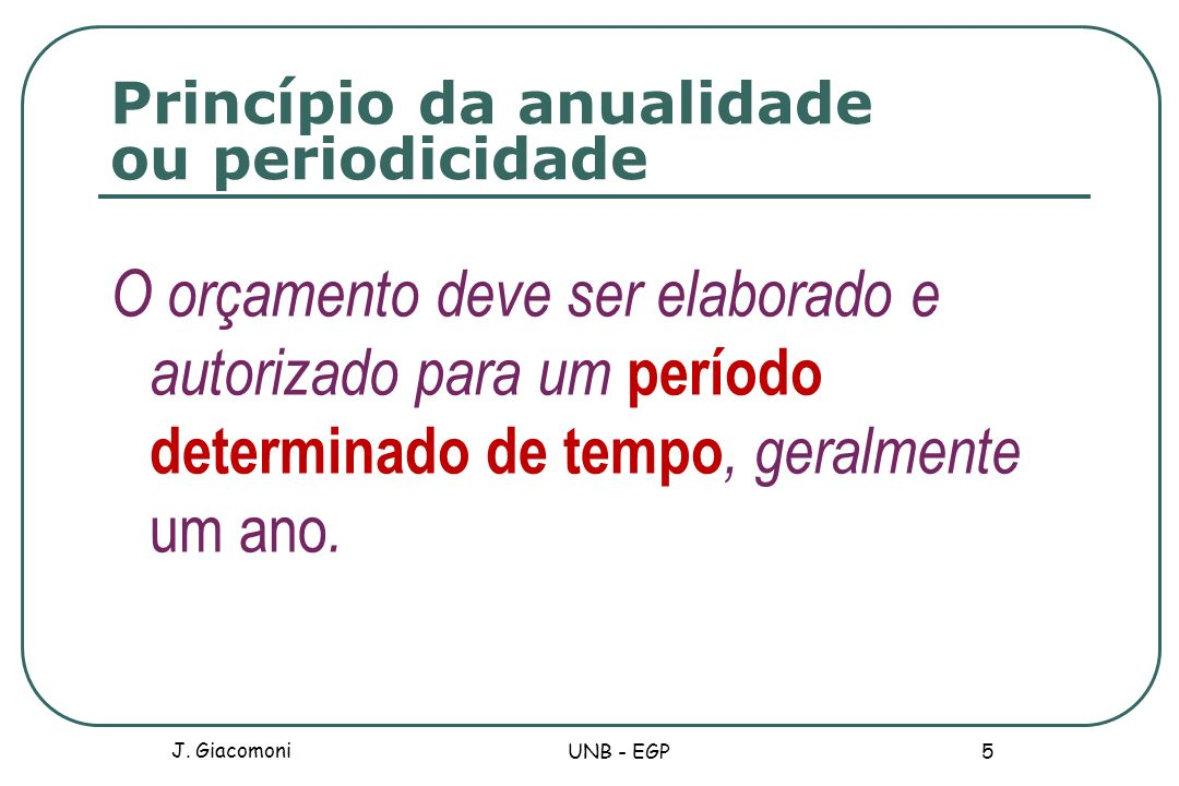 Princípio da anualidade ou periodicidade