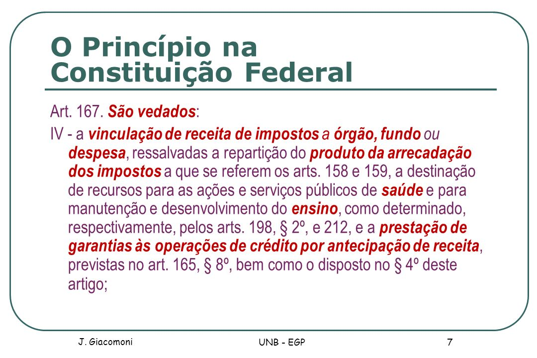 O Princípio na Constituição Federal