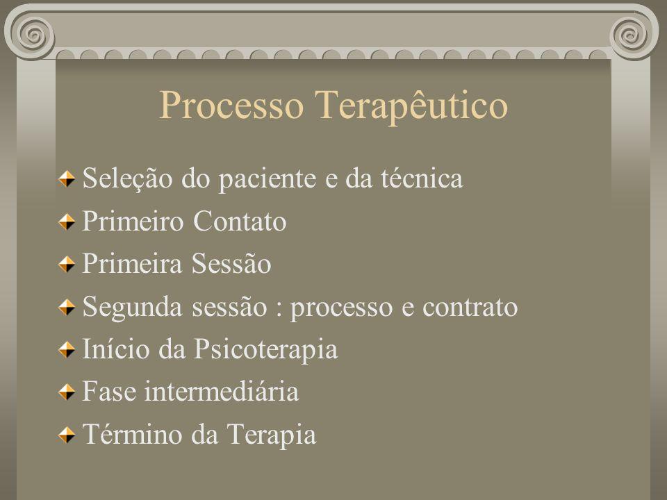 Processo Terapêutico Seleção do paciente e da técnica Primeiro Contato