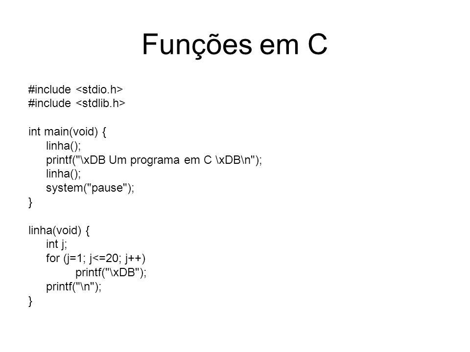 Funções em C #include <stdio.h> #include <stdlib.h>