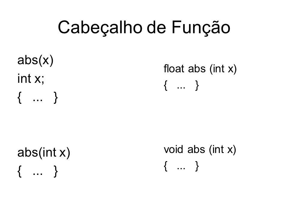Cabeçalho de Função abs(x) int x; { ... } abs(int x) float abs (int x)