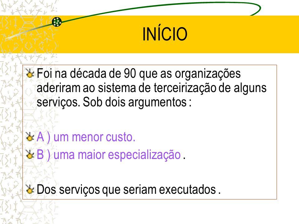 INÍCIOFoi na década de 90 que as organizações aderiram ao sistema de terceirização de alguns serviços. Sob dois argumentos :