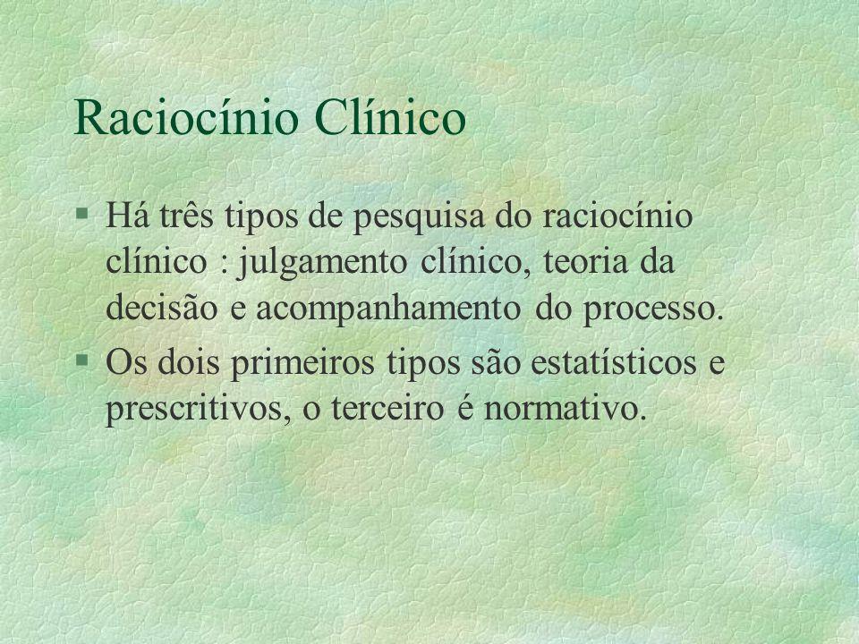 Raciocínio Clínico Há três tipos de pesquisa do raciocínio clínico : julgamento clínico, teoria da decisão e acompanhamento do processo.