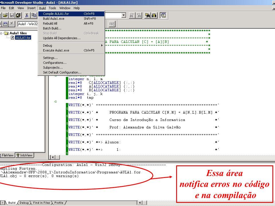 notifica erros no código