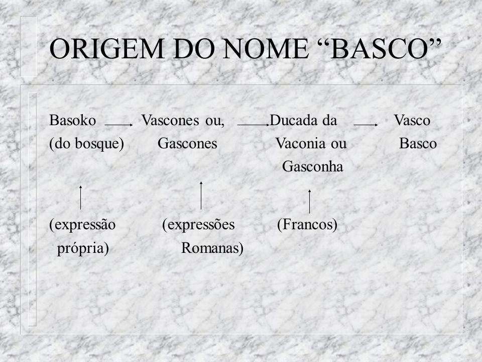 ORIGEM DO NOME BASCO Basoko Vascones ou, Ducada da Vasco
