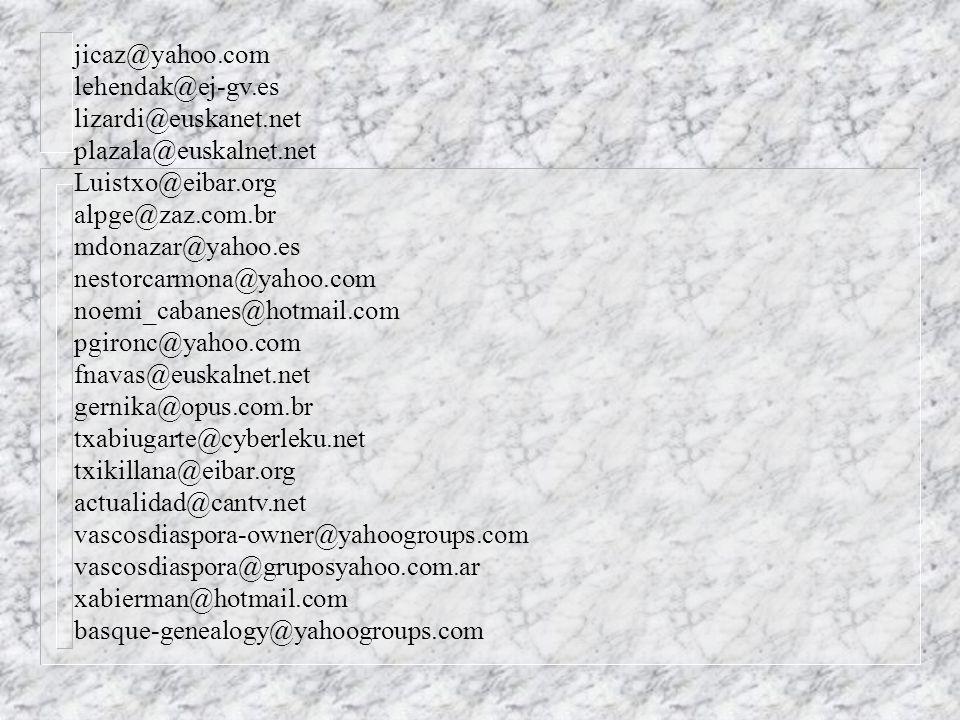 jicaz@yahoo.com lehendak@ej-gv.es. lizardi@euskanet.net. plazala@euskalnet.net. Luistxo@eibar.org.