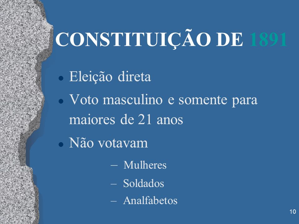 CONSTITUIÇÃO DE 1891 Eleição direta