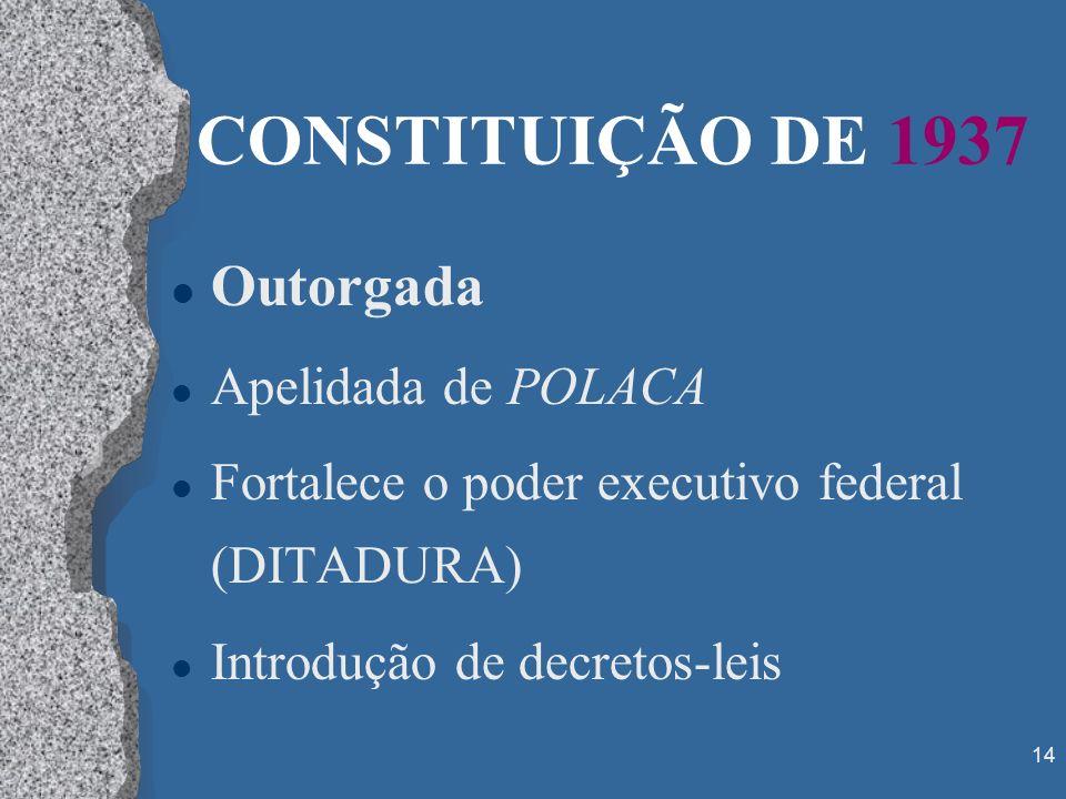 CONSTITUIÇÃO DE 1937 Outorgada Apelidada de POLACA