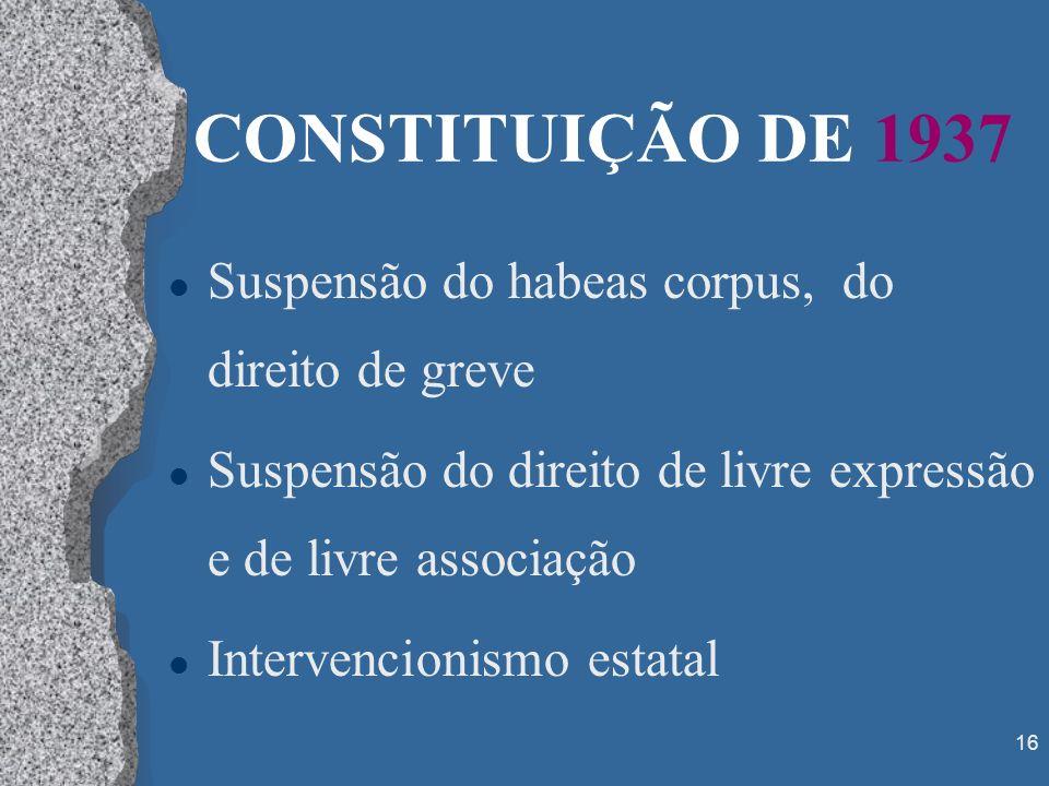 CONSTITUIÇÃO DE 1937 Suspensão do habeas corpus, do direito de greve