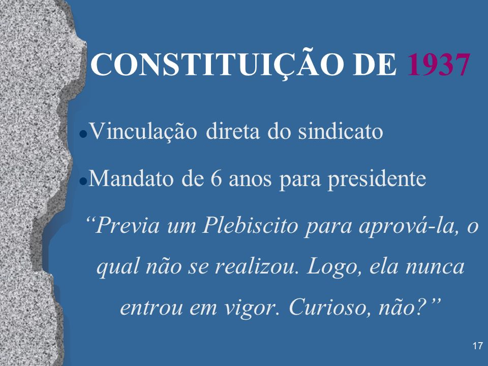 CONSTITUIÇÃO DE 1937 Vinculação direta do sindicato