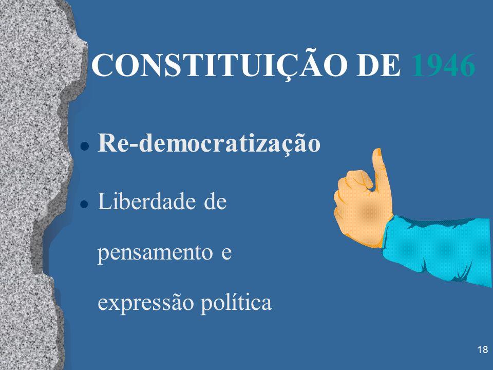 CONSTITUIÇÃO DE 1946 Re-democratização