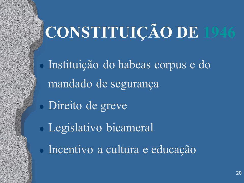 CONSTITUIÇÃO DE 1946Instituição do habeas corpus e do mandado de segurança. Direito de greve. Legislativo bicameral.