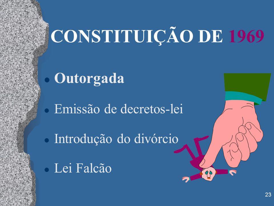 CONSTITUIÇÃO DE 1969 Outorgada Emissão de decretos-lei