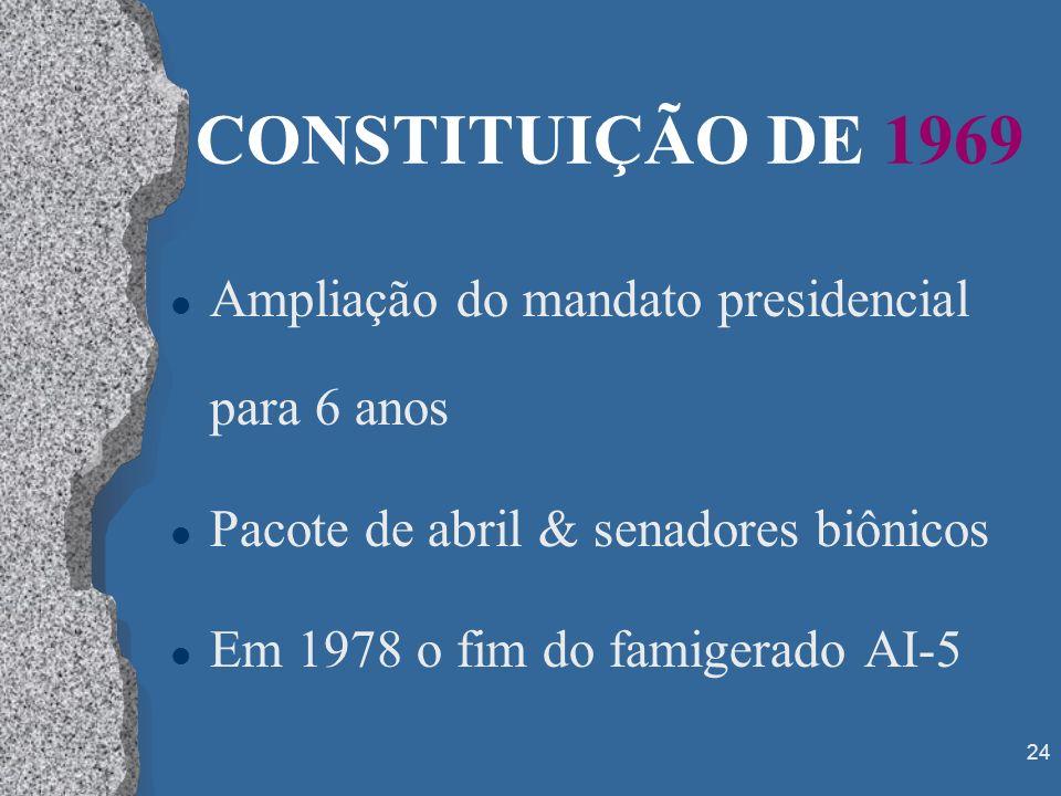 CONSTITUIÇÃO DE 1969 Ampliação do mandato presidencial para 6 anos