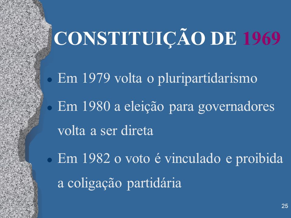 CONSTITUIÇÃO DE 1969 Em 1979 volta o pluripartidarismo