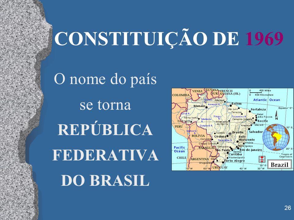 O nome do país se torna REPÚBLICA FEDERATIVA DO BRASIL