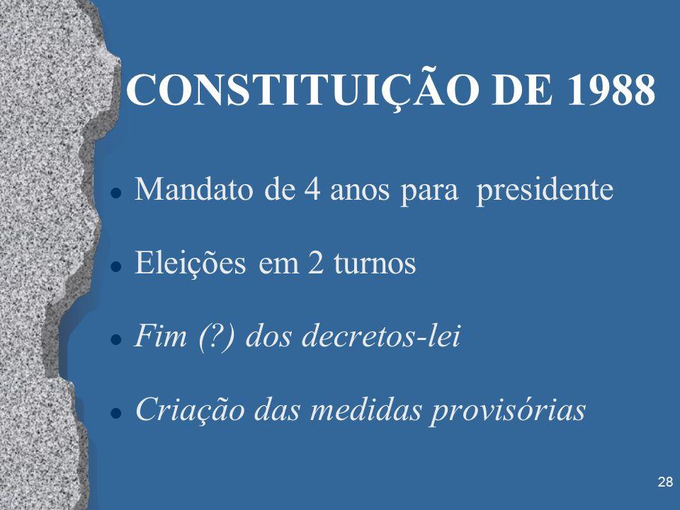 CONSTITUIÇÃO DE 1988 Mandato de 4 anos para presidente