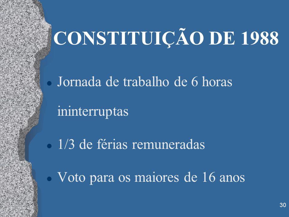 CONSTITUIÇÃO DE 1988 Jornada de trabalho de 6 horas ininterruptas