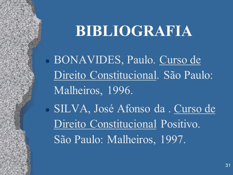 BIBLIOGRAFIABONAVIDES, Paulo. Curso de Direito Constitucional. São Paulo: Malheiros, 1996.