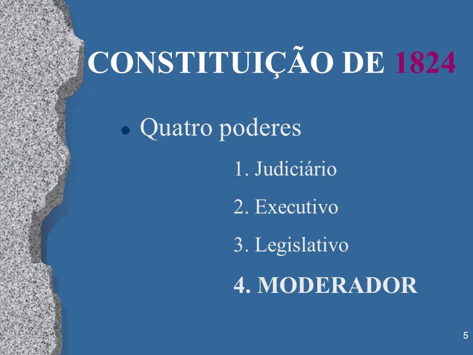 CONSTITUIÇÃO DE 1824 Quatro poderes 4. MODERADOR 1. Judiciário
