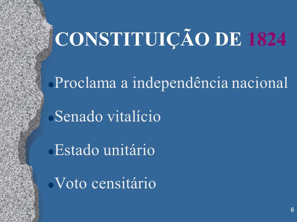 CONSTITUIÇÃO DE 1824 Proclama a independência nacional