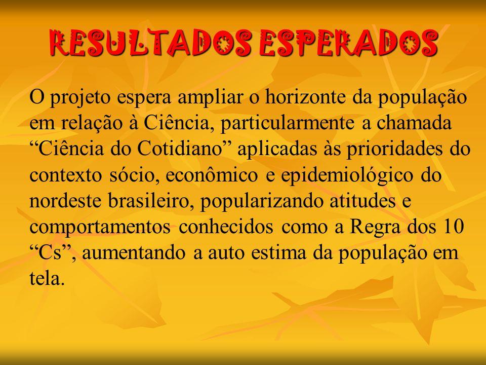 RESULTADOS ESPERADOS O projeto espera ampliar o horizonte da população