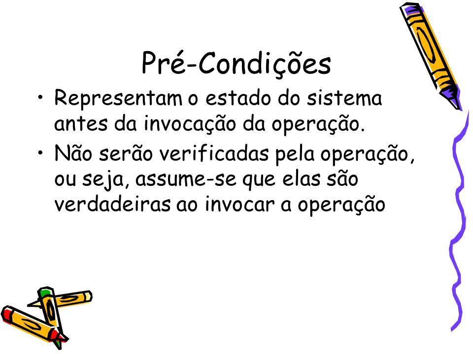 Pré-CondiçõesRepresentam o estado do sistema antes da invocação da operação.