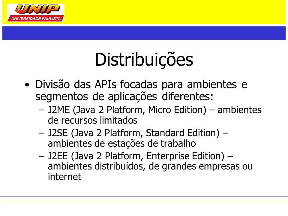 Distribuições Divisão das APIs focadas para ambientes e segmentos de aplicações diferentes: