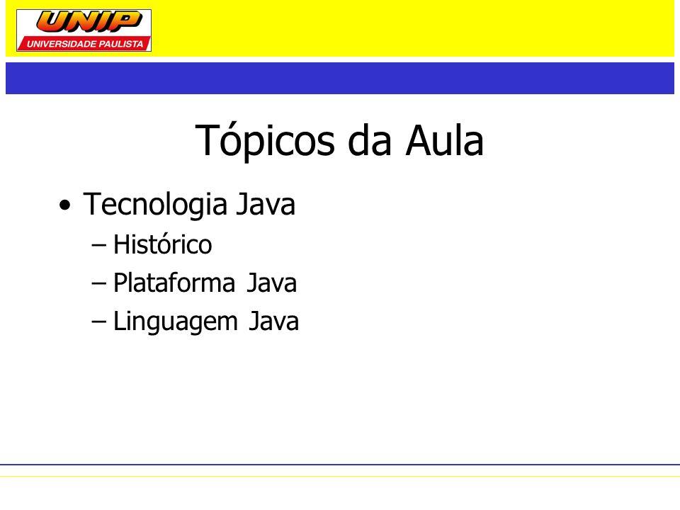 Tópicos da Aula Tecnologia Java Histórico Plataforma Java