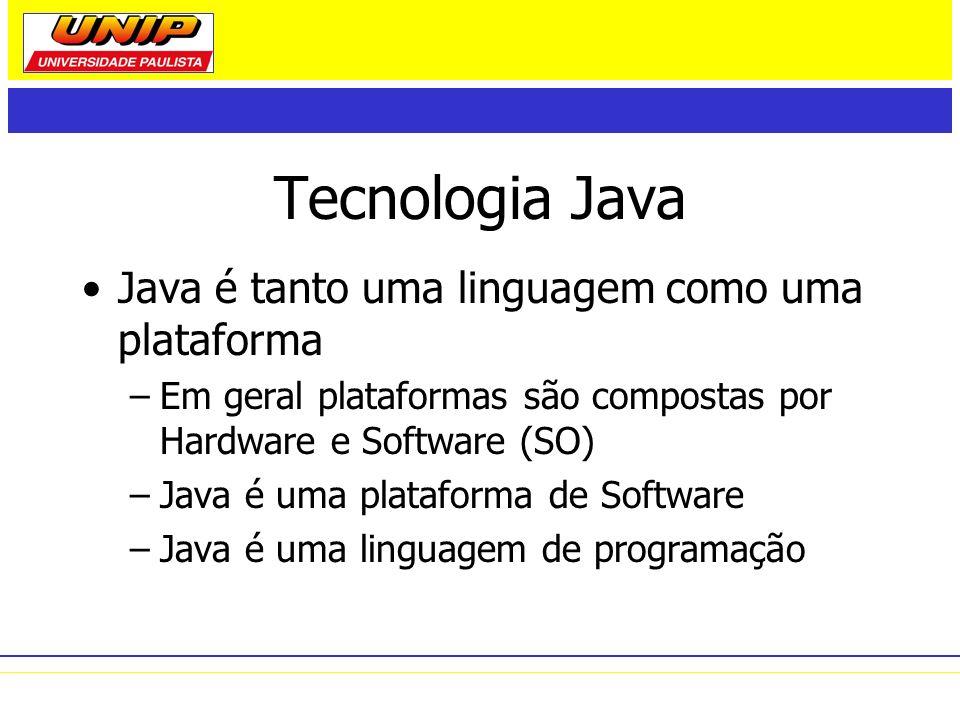 Tecnologia Java Java é tanto uma linguagem como uma plataforma