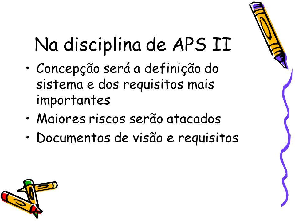 Na disciplina de APS II Concepção será a definição do sistema e dos requisitos mais importantes. Maiores riscos serão atacados.