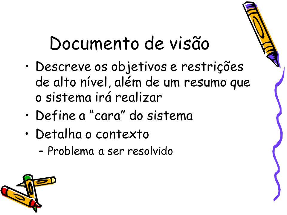 Documento de visão Descreve os objetivos e restrições de alto nível, além de um resumo que o sistema irá realizar.