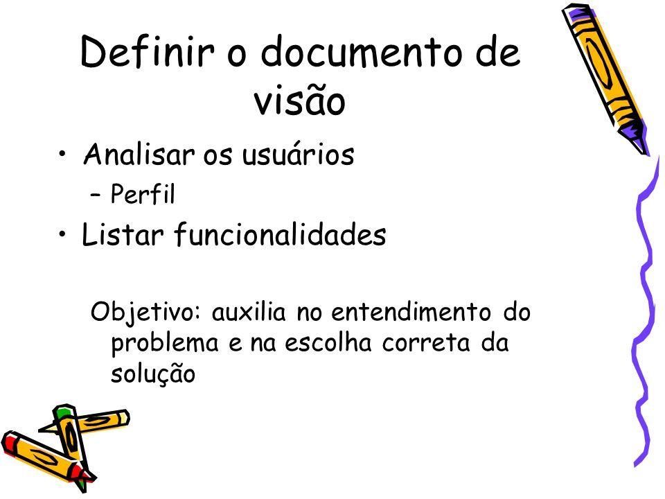 Definir o documento de visão