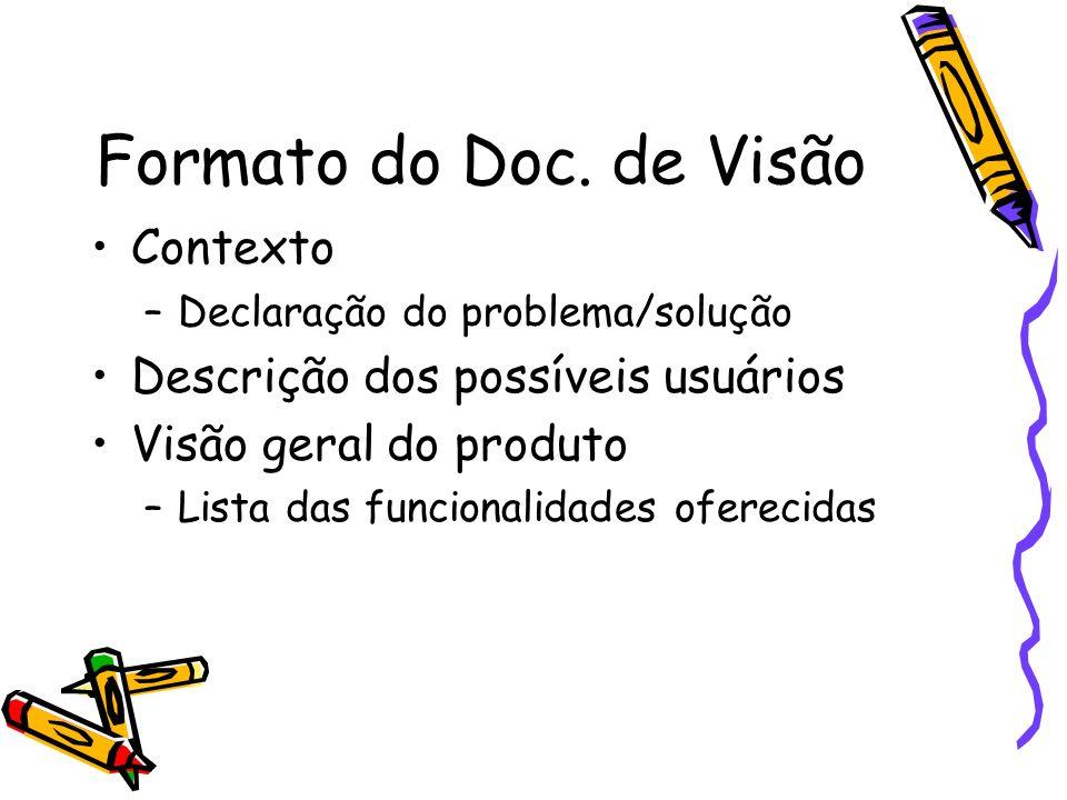 Formato do Doc. de Visão Contexto Descrição dos possíveis usuários