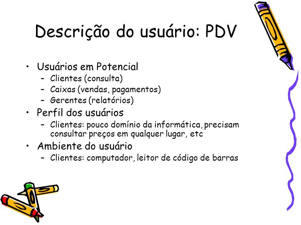 Descrição do usuário: PDV