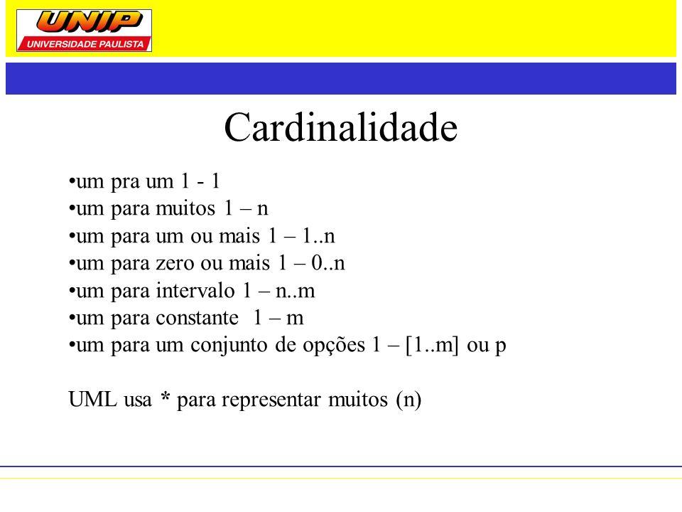 Cardinalidade um pra um 1 - 1 um para muitos 1 – n