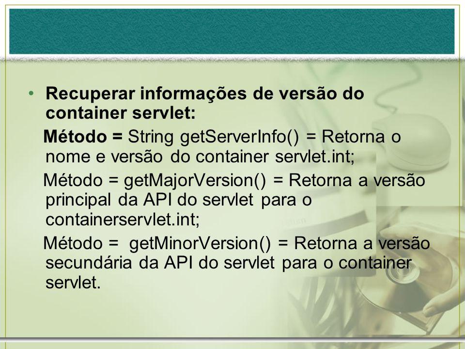 Recuperar informações de versão do container servlet: