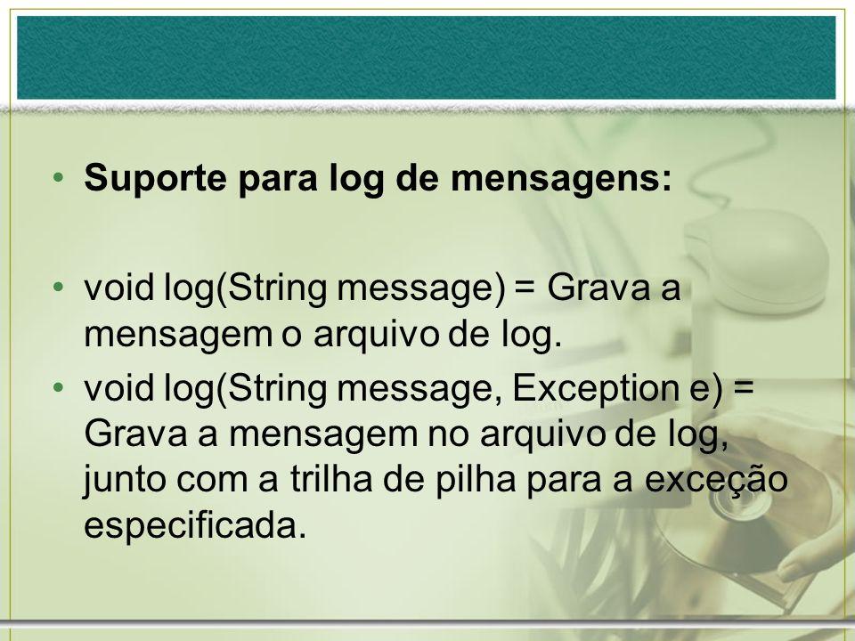Suporte para log de mensagens: