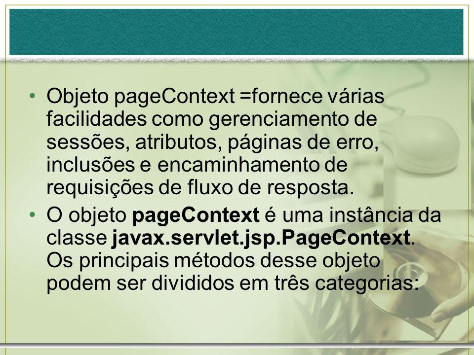 Objeto pageContext =fornece várias facilidades como gerenciamento de sessões, atributos, páginas de erro, inclusões e encaminhamento de requisições de fluxo de resposta.