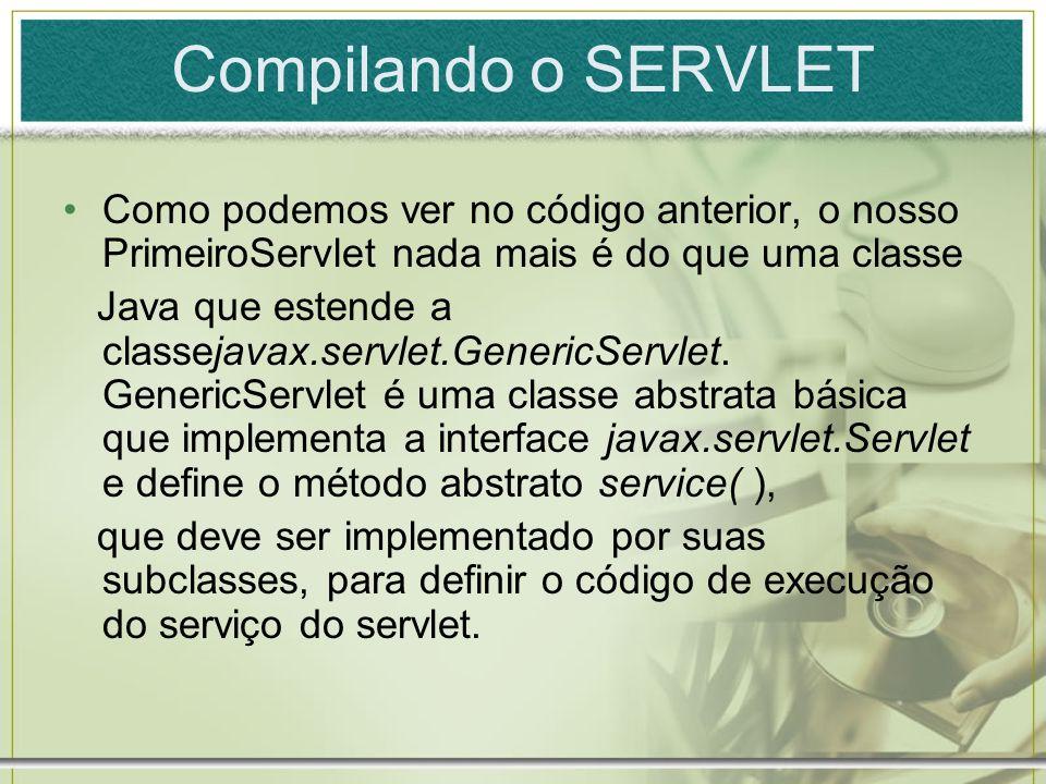 Compilando o SERVLET Como podemos ver no código anterior, o nosso PrimeiroServlet nada mais é do que uma classe.
