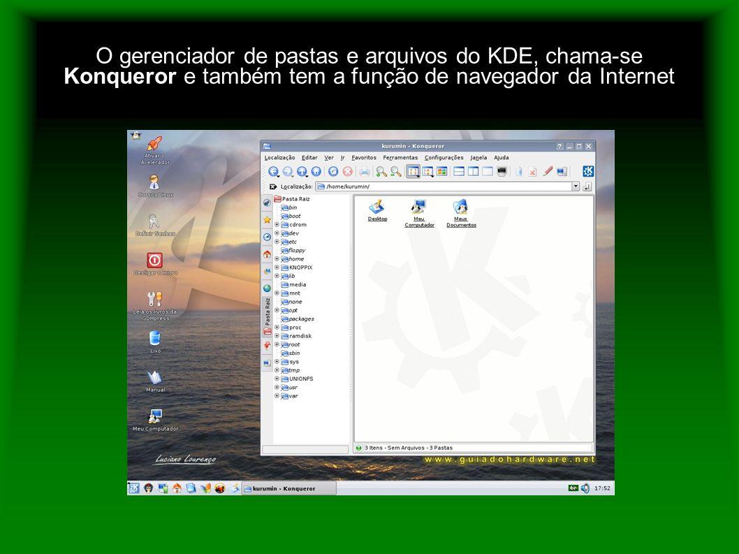 O gerenciador de pastas e arquivos do KDE, chama-se Konqueror e também tem a função de navegador da Internet