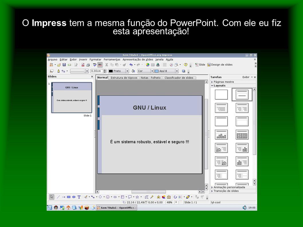 O Impress tem a mesma função do PowerPoint