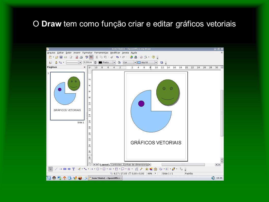 O Draw tem como função criar e editar gráficos vetoriais