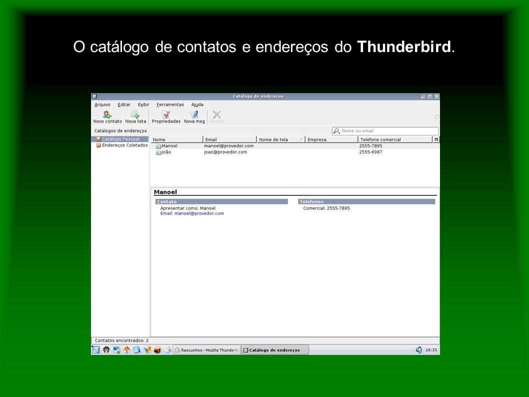 O catálogo de contatos e endereços do Thunderbird.