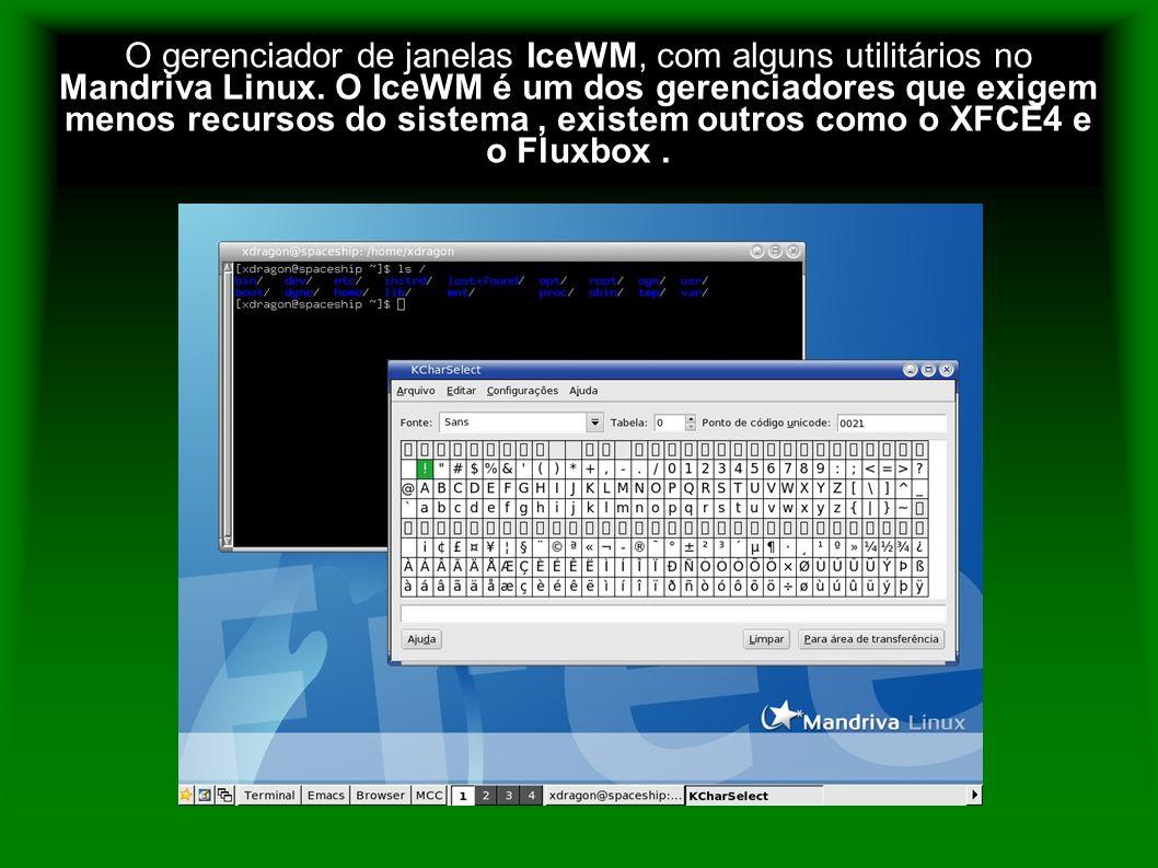 O gerenciador de janelas IceWM, com alguns utilitários no Mandriva Linux.