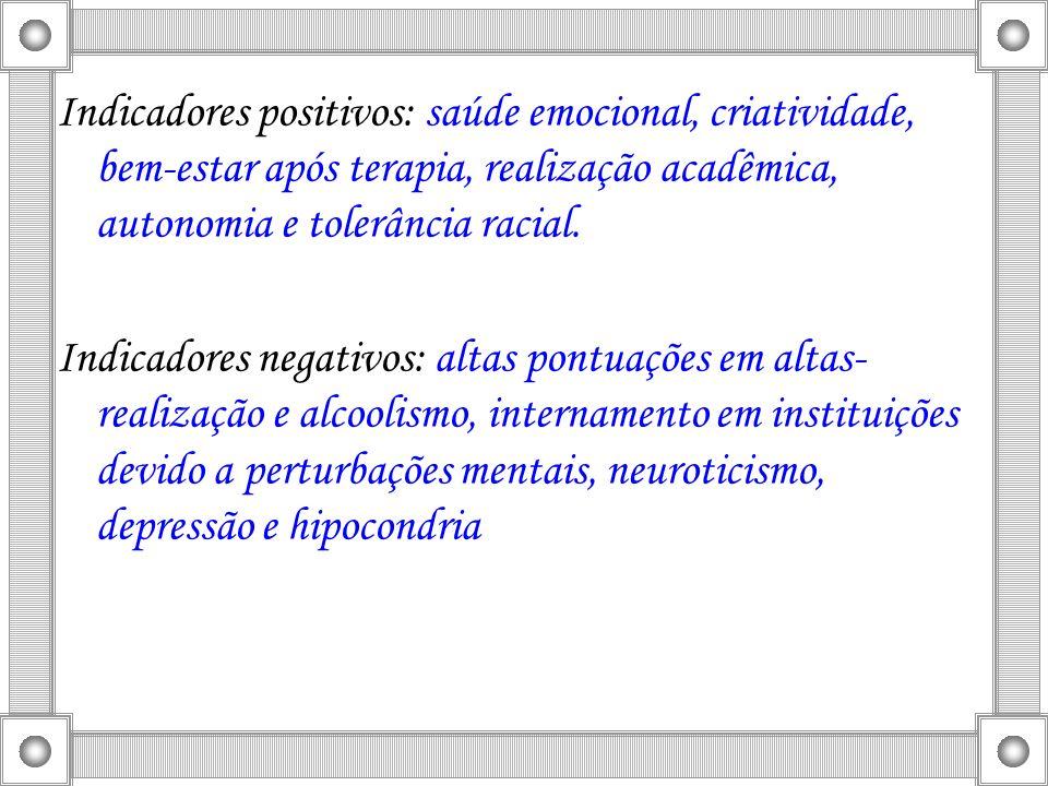 Indicadores positivos: saúde emocional, criatividade, bem-estar após terapia, realização acadêmica, autonomia e tolerância racial.