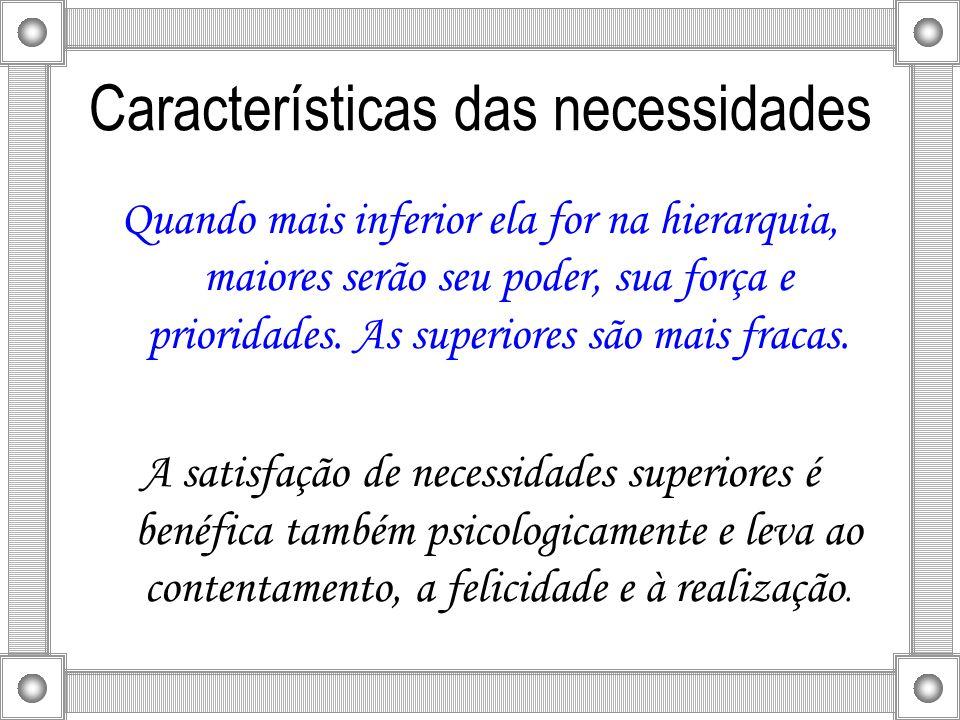 Características das necessidades