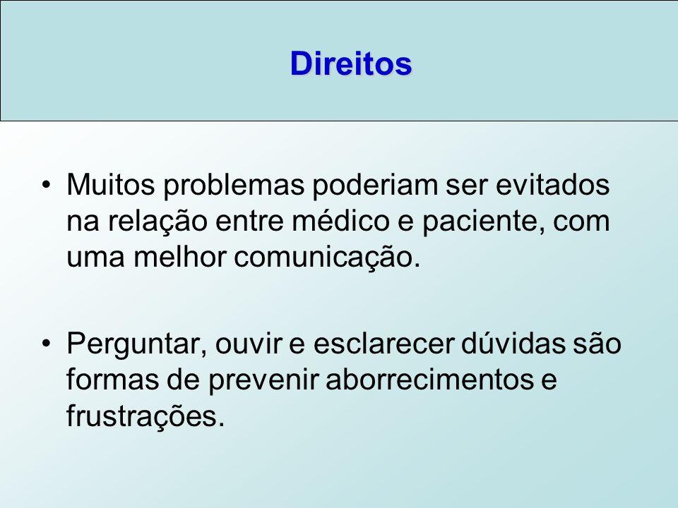 Direitos Muitos problemas poderiam ser evitados na relação entre médico e paciente, com uma melhor comunicação.
