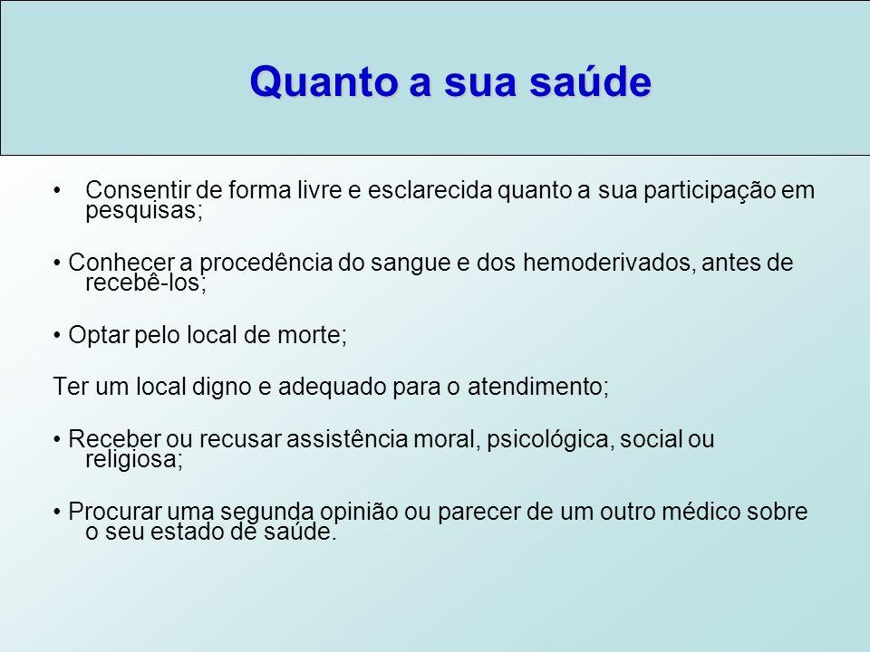 Quanto a sua saúde Consentir de forma livre e esclarecida quanto a sua participação em pesquisas;